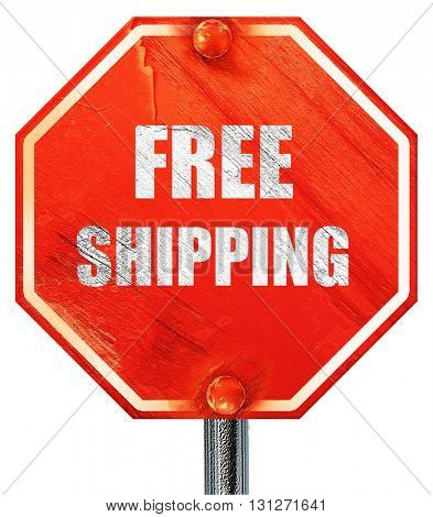 free shipping sign, 3D rendering, a red stop sign