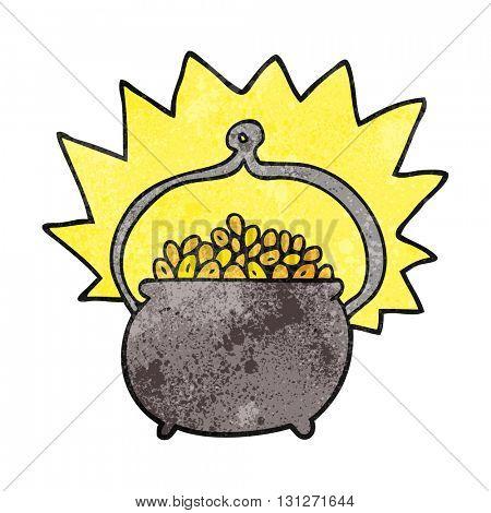 freehand textured cartoon pot of gold