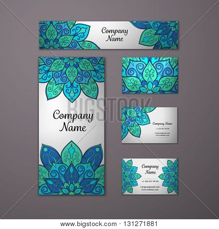 Templates set. Business cards invitations and banners. Floral mandala pattern and ornaments. Oriental design Layout. Asian Arabic Indian ottoman motifs.