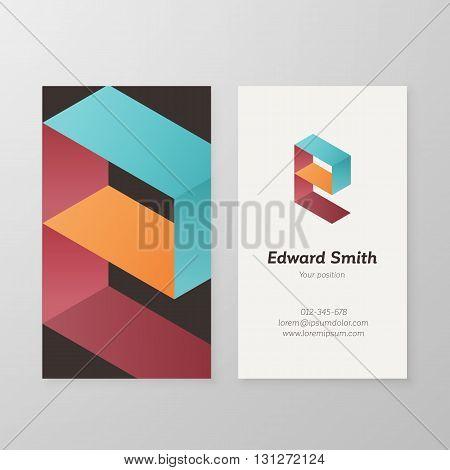 Business card isometric logo letter E vector template. Vector business card personal logo sign graphic design.