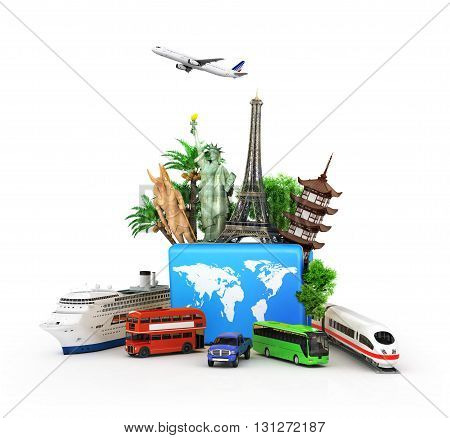 Сoncept of travel and tourism attractions and world blue suitcase trucks for elom background. 3D illustrations