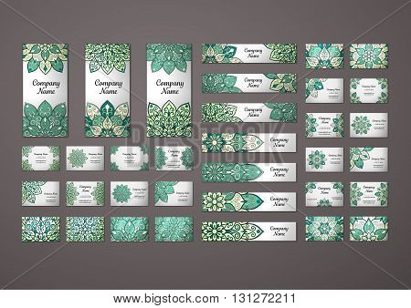 Big templates set. Business cards invitations and banners. Floral mandala pattern and ornaments. Oriental design Layout. Asian Arabic Indian ottoman motifs.