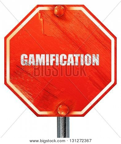 gamification, 3D rendering, a red stop sign