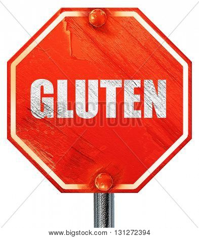 gluten, 3D rendering, a red stop sign