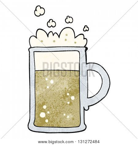 freehand textured cartoon tankard of beer
