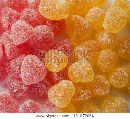 fruity jelly beans sprinkled with sugar close up