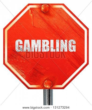 gambling, 3D rendering, a red stop sign