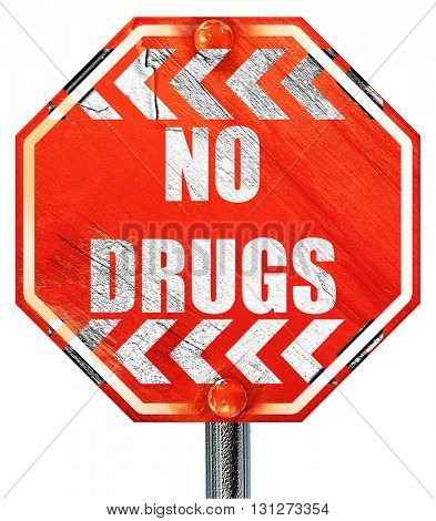 No drugs sign, 3D rendering, a red stop sign