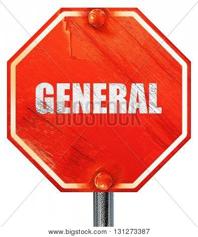 general, 3D rendering, a red stop sign