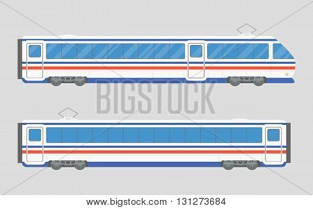 Isolated vector illustration of a train in a flat style. Locomotive and wagon.