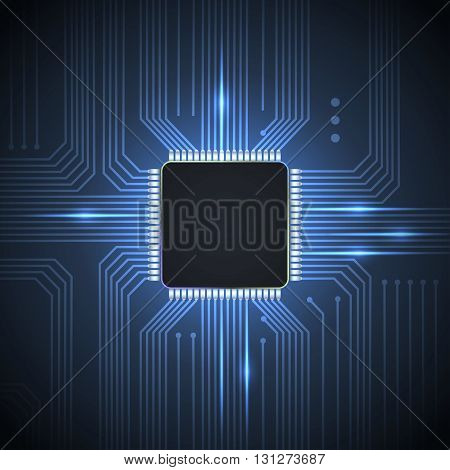 Electronic chip background .  vector illustration .