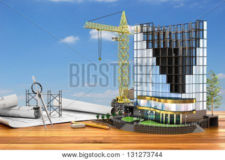 Abstract 3d of building development concept. Office building in process of construction. 3d illustration