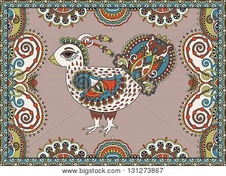 original retro cartoon chicken drawing, symbol of 2017 new year of the rooster in karakoko style, vector illustration
