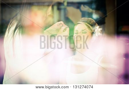 Beautiful bride at makeup