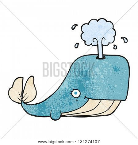 freehand textured cartoon whale spouting water