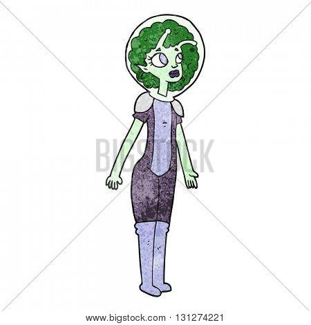 freehand textured cartoon alien space girl