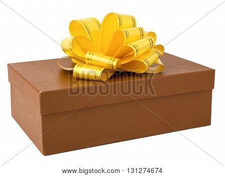 Gift box with ribbon. Isolated on white background