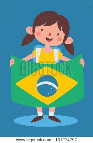 School Girl Holding A Brazilian Flag