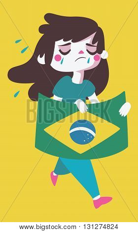 Sad Girl Holding A Brazilian Flag