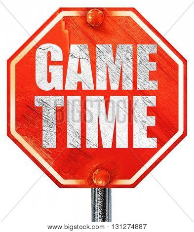 game time, 3D rendering, a red stop sign
