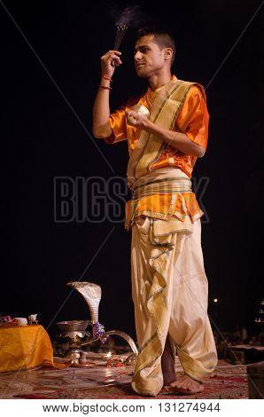 Ganga Aarti Ritual In Varanasi.