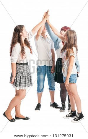 Teenagers making high five together isolated on white background
