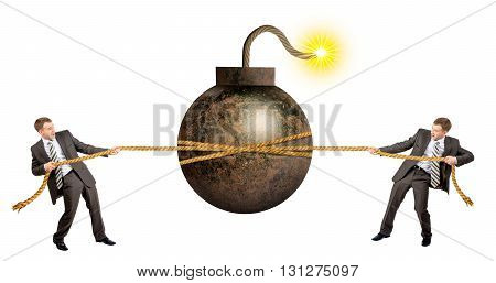 Businessmans pulling bomb against another man isolated on white background