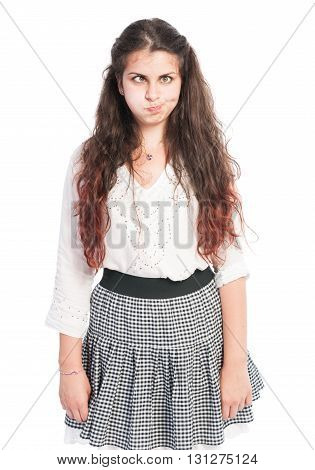 Teen Girl With Long Hair Making Funny Face.