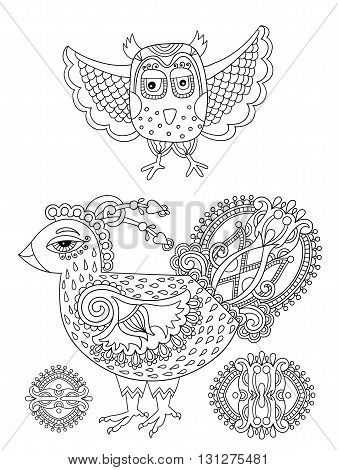original black and white line drawing page of coloring book bird and flower joy to older children and adult colorists, who like line art and creation, vector illustration