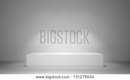 Pedestal with light sources, 3D illustration. Exhibition room