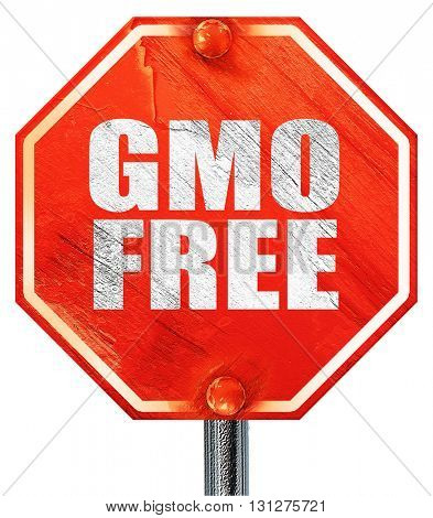 gmo free, 3D rendering, a red stop sign