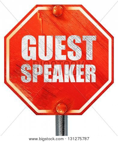 guest speaker, 3D rendering, a red stop sign