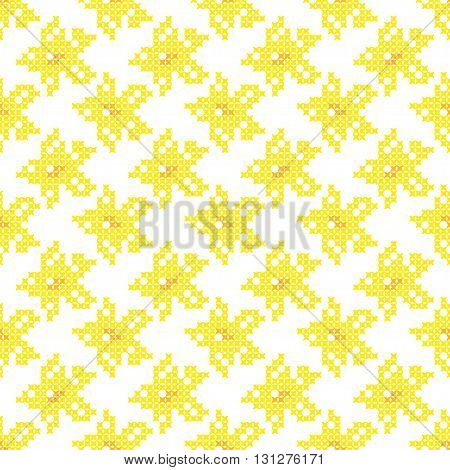 Seamless isolated texture with abstract yellow embroidered flowers for tablecloth. Embroidery. Cross stitch.
