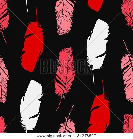 Hand drawn feathers silhouettes seamless pattern. Tribal ornament. Ethnic theme. Cute repeating background. Vector illustration