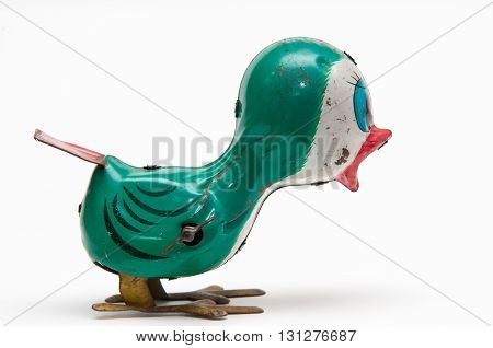 Vintage tweeting toy bird ideal for different social media logo for retro web page