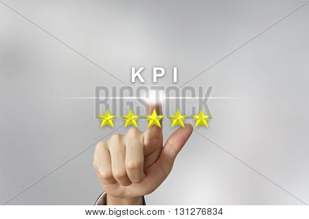 business hand clicking KPI or key performance indicator with five stars on screen