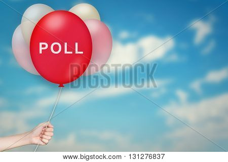 Hand Holding poll Balloon with sky blurred background