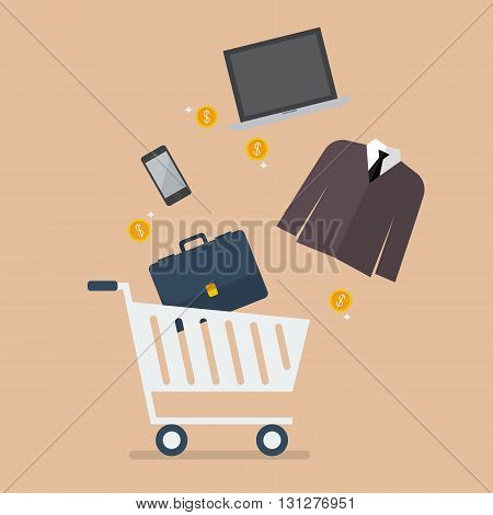 Add men clothing and accessories into cart. Shopping concept