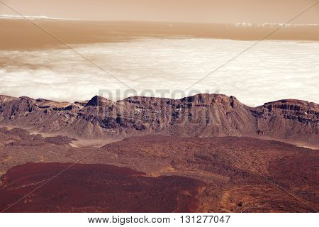 Panorama mountains in dusk clouds in red planet Mars
