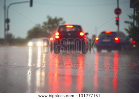Traffic In Rainy Day