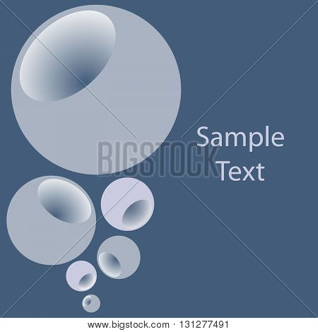 Grey blue bubbles with pit. Graphic arts