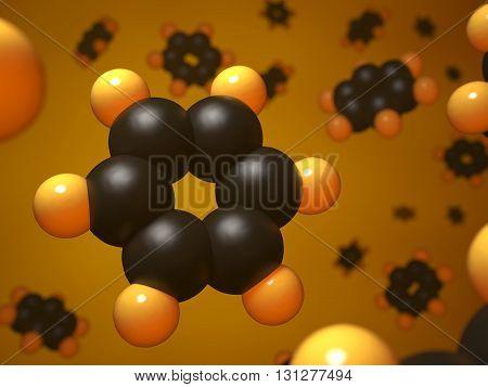 Benzene molecule molecular structure 3d concept illustration.