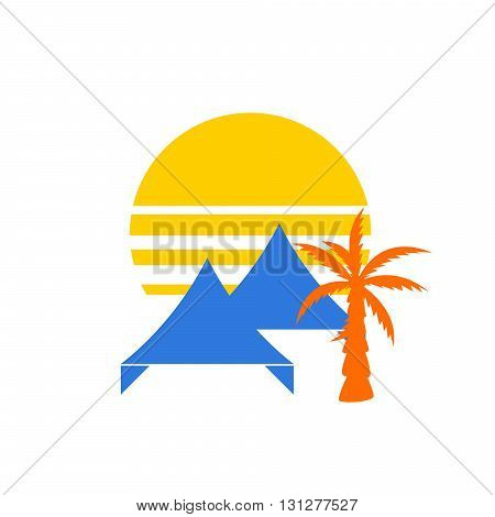 Event tent logo concept. Tent or awning with sunset behind and palm tree silhouette for party event company.