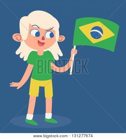 Cartoon Girl Holding A Brazilian Flag