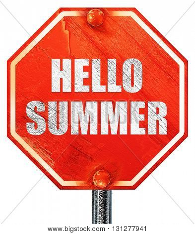 hello summer, 3D rendering, a red stop sign