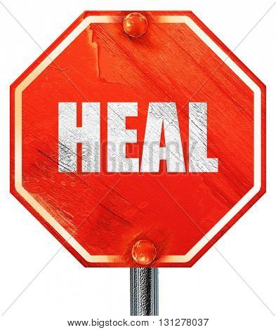heal, 3D rendering, a red stop sign