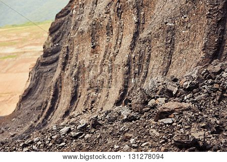 Coal mining in an open pit - lignite often referred to as brown coal - industrial landscape in Czech Republic