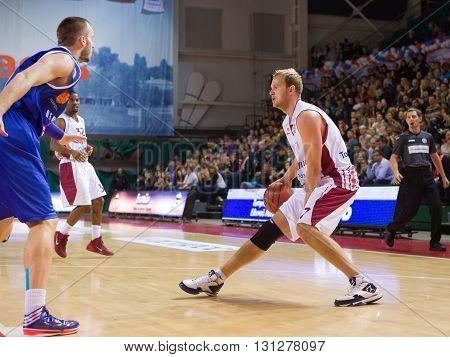 Bc Krasnye Krylia Guard Anton Ponkrashov (7) Dribbles The Ball