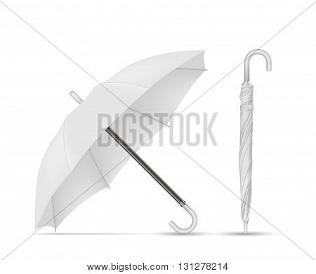 Vector Illustration of Blank White Umbrella isolated on a white background
