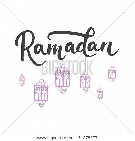 Ramadan Kareem greeting card background with lanterns and lettering. Vector illustration for Ramadan - holiest month in the Islamic calendar for Muslims.